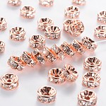 Brass Rhinestone Spacer Beads, Grade AAA, Straight Flange, Nickel Free, Rose Gold Metal Color, Rondelle, Crystal, 8x3.8mm, Hole: 1.5mm