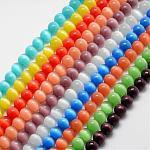 Abalorios de ojos de gato, redondo, color mezclado, 8mm, agujero: 1 mm; alrededor de 15.5 pulgadas / hebra, aproximamente 49 pcs / cadena