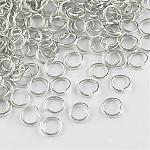 Anillos de salto abierto de alambre de aluminio, plata, 18 calibre, 8x1.0 mm; aproximamente 18000 unidades / 1000 g