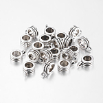 Antique Silver Column Alloy Hanger Link Bail Beads for Baigi Bracelets, Lead Free & Nickel Free, 12.5x8x5mm, Hole: 2mm