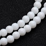 Opaque Color Glass Round Bead Strands, White, 6mm, Hole: 1mm; about 50pcs/strand, 11