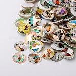 Mariposa medio vidrio impreso cabuchones redondo / domo, color mezclado, 20x6mm