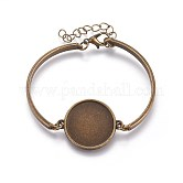 Alloy Bracelet Making, with Flat Round Cabochons Setting, Antique Bronze, 2