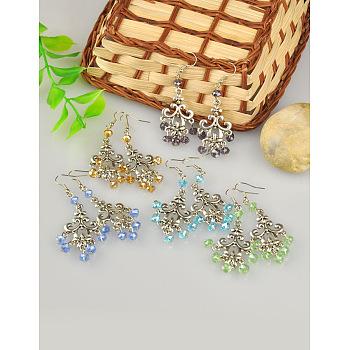 Boucles d'oreilles de lustre de style tibétain à la mode, avec des perles en verre et des crochets de boucles d'oreilles en laiton, couleur mixte, 68mm