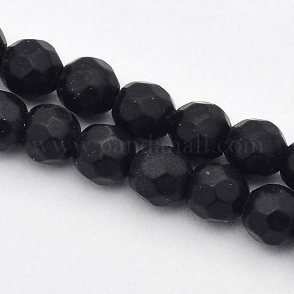 Faceted Round Natural Black Stone Beads StrandsG-E302-066-4mm-1