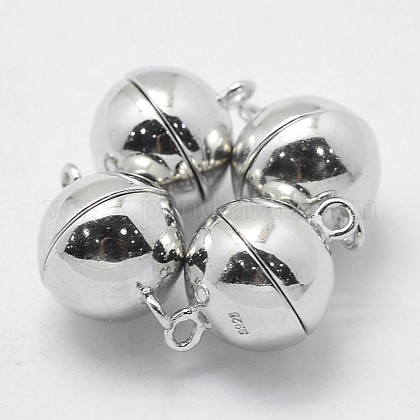 12 Magnetic Bead Clasps Jewelry Silver Plated 16.5mm