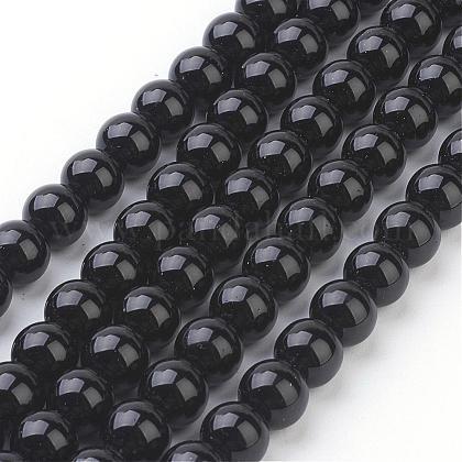Cuentas sintéticas piedras negras hebrasGSR044-1