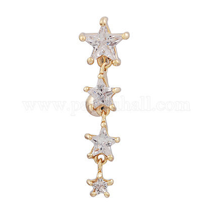 Piercing Jewelry Real 18K Gold Plated Brass Star Cubic Zirconia Navel Ring Belly RingsAJEW-EE0001-94-1