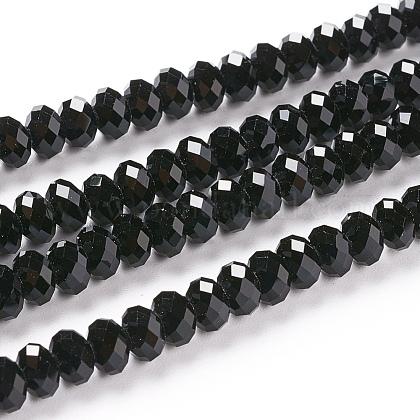 Facetas rondelle imitación de cristal austriaco cuentas de vidrio hebrasG-M185-4x6mm-23A-1