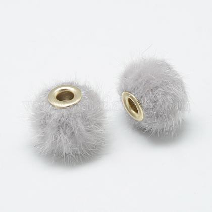 Handmade Faux Mink Fur European BeadsX-OPDL-S089-02D-1