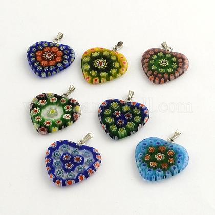 Handmade Millefiori Glass PendantsLK-R005-03-1