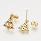 Colgantes de latón circonita cúbica y aretes y anillos ajustables conjuntos de joyasSJEW-S043-05-5