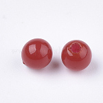 Environmental Plastic Beads, Half Drilled Beads, Round, Red, 4mm, Half Hole: 1mm