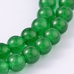 Dyed Natural Jade Round Bead Strands, Green, 6mm, Hole: 1mm, about 64pcs/strand, 15.4 inches