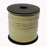 2 Row Platinum Aluminum Studded Faux Suede Cord, Faux Suede Lace, ChampagneYellow, 5x2mm; about 20yards/roll