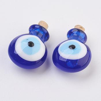 Подвески ручной работы бусины бутылки духов, бутылка эфирного масла, злые глаза, синие, 29.5~30 мм, отверстие : 5~5.5 мм, емкость бутылки: 0.5~1 мл (0.017~0.03 жидких унции)