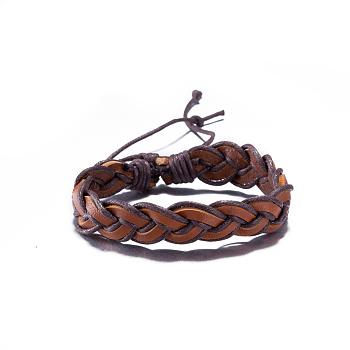 Bracelets réglables en cuir tressées unisexes occasionnels, Sienna, 300mm