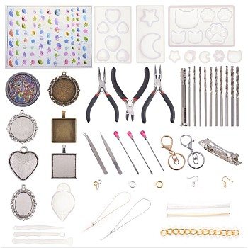DIYアクセサリーセット, シリコンモールド付き, 合金ペンダント, 鉄パーツ, キーの留め金, ピンセットとシェルビーズ, ミックスカラー