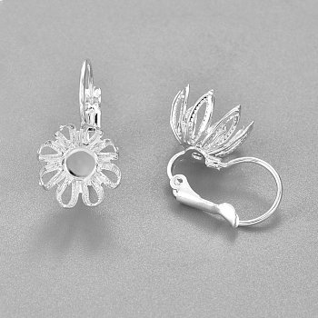 Fornituras del pendiente de 304 acero inoxidable, flor, plata, Bandeja: 4 mm, 22x11.5x17mm, pin: 0.7 mm