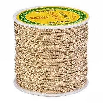 Hilo de nylon trenzada, Cordón de anudar chino cordón de abalorios para hacer joyas de abalorios, burlywood, 0.8 mm, aproximamente 100 yardas / rodillo