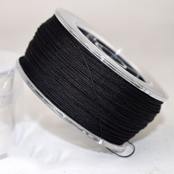 Nylon Thread Cord, For Jewelry Making, Black, 0.4mm; about 180m/roll