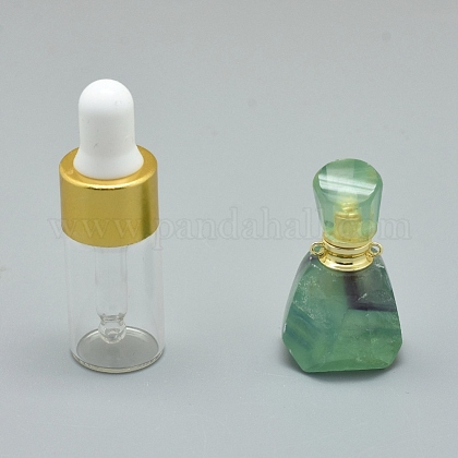 Colgantes de botella de perfume que se pueden abrir con fluorita natural facetadaG-E556-11C-1