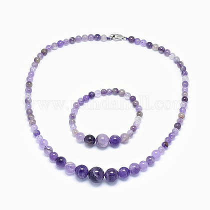Natural Amethyst Graduated Beads Necklaces and Bracelets Jewelry SetsSJEW-L132-01-1