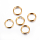 304 acero inoxidable anillos partidos, dorado, 8x1.3 mm; diámetro interno: 6.5 mm; solo cable: 0.65 mm