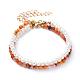 Conjuntos de pulseras con cuentas de ágata roja natural / cornalina y perlas de agua dulceBJEW-JB05145-01-1
