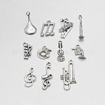 Mixed Music Theme Tibetan Style Alloy Pendants, Antique Silver, 15~35x5.5~15x2~6mm, Hole: 1~2mm