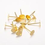 Iron Ear Stud Findings, Golden, 12x6mm, Pin: 0.7mm