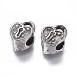 Abalorios europeas de 304 acero inoxidable, Abalorios de grande agujero, cerradura del corazón, plata antigua, 15.5x11x8.5mm, agujero: 5 mm