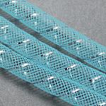 Mesh Tubing, Plastic Net Thread Cord, with Silver Vein, LightSkyBlue, 8mm, 30 yards/Bundle