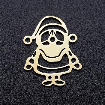 Conectores de enlaces en blanco de estampado de acero inoxidable 201, claus de santa, dorado, 21x16.5x1mm, agujero: 1.2 mm