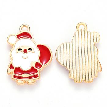 Colgantes de esmalte de aleación, para la Navidad, espalda plana, santa claus, la luz de oro, rojo, 22x16x1mm, agujero: 1.4 mm