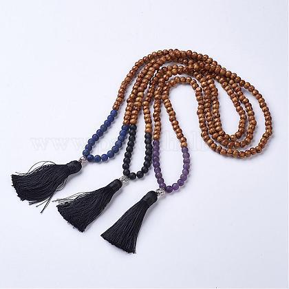 Piedra preciosa natural y madera Collares de abalorioss budistasNJEW-JN01779-1