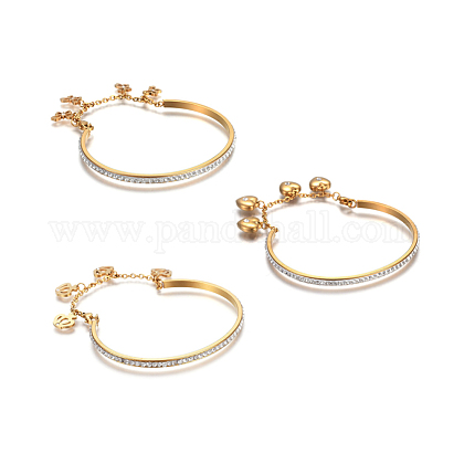 304 Stainless Steel Charm BanglesBJEW-F363-09G-1
