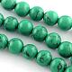 Sintética de piedras preciosas de color turquesa hebras grano redondoTURQ-R035-8mm-02