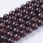 Chapelets de perles de grenat naturel, facette, ronde, 10mm, trou: 1mm; environ 38 pcs/chapelet, 15.75
