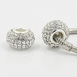 Resin European Rhinestone Beads, Grade A, with Silver Plated Brass Double Cores, Rondelle, Clear, 15x10mm, Hole: 5mm
