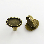 Vintage Adjustable Iron Finger Ring Components Alloy Cabochon Bezel Settings, Lead Free & Cadmium Free & Nickel Free, Antique Bronze, 17x5mm; Oval Tray: 18x13mm