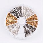 1 caja 3 color latón perlas de engarce, tubo, color mezclado, 1.5~2x1.5~2mm, agujero: 1~1.5 mm