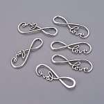 Tibetan Style Alloy Links connectors, Infinity with Word Love, Cadmium Free & Lead Free, Antique Silver, 37.5x12x3mm, Hole: 11.5x5.5mm