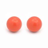 Perles en laiton peintes rondes de bombe sans perforation, orange rouge , 16mm