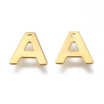 Encantos de 304 acero inoxidable, carta, encantos iniciales, letter.a, 11x6~12x0.8mm, agujero: 1 mm