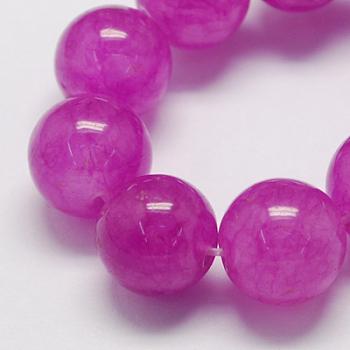 Chapelets de perles de jade naturel, teinte, ronde, orchidée, 8mm, trou: 1mm; environ 48 pcs/chapelet, 14.9 pouces