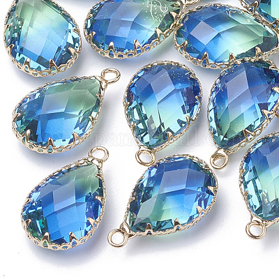 25x10.5mm K9 Glass Imitation Tourmaline Connectors With Brass Casing Jewelry Supplies Glass Connector Brass 2 Pcs Blue Green