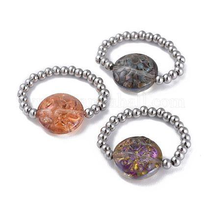 304 anillos de dedo elásticos de acero inoxidableRJEW-JR00259-M-1