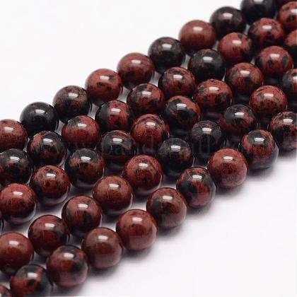 Натурального красного дерева обсидиана бусинка нитиG-K153-B17-10mm-1