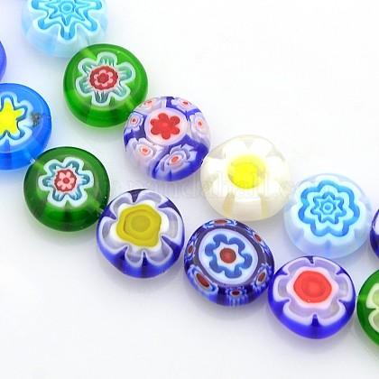 Hilos de abalorios de vidrio millefiori artesanalLAMP-J033-10mm-M-1
